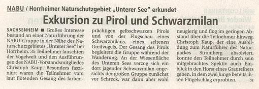 Bietigheimer Zeitung vom 14.05.2007 über Führung am Unterer See in Horrheim mit Christoph Kaup