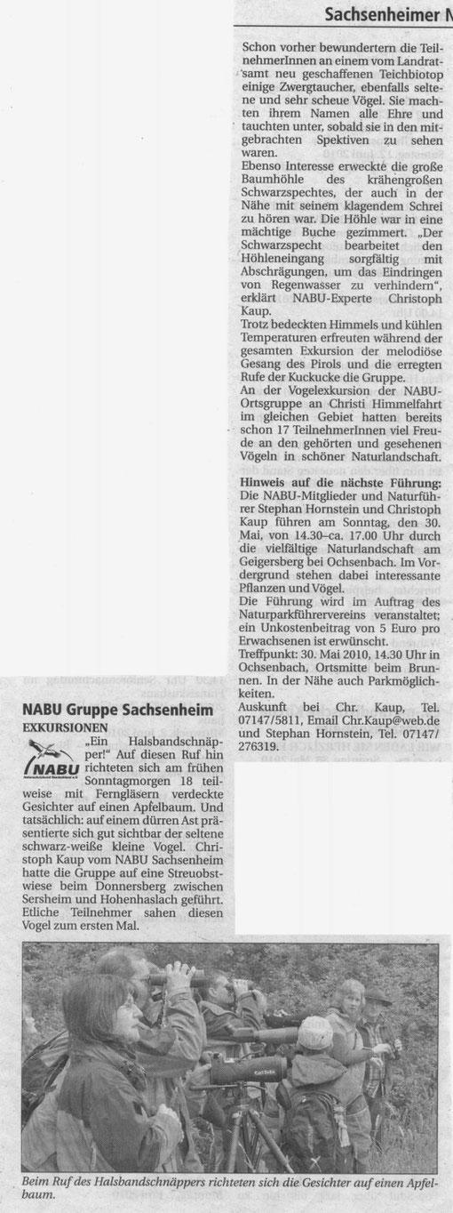 Nachrichtenblatt 11 über Vogelkundliche Führung Kaup vom 28.05.2010