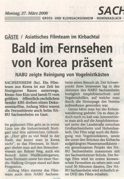 Bietigheimer Zeitung vom 27.03.2006  über KoreaTV bei Nistkastenreinigung