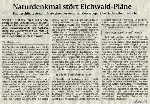 Pressemitteilung in der Stuttgarter Zeitung vom 20.06.2008
