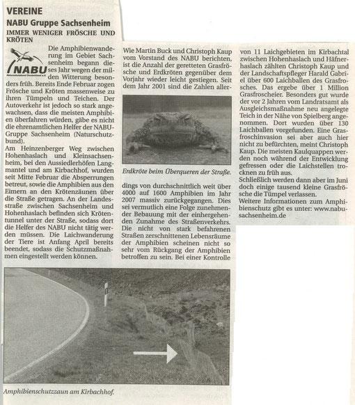 Nachrichtenblatt Nr. 8 vom 20.04.2007 über die Amphibienschutzaktion