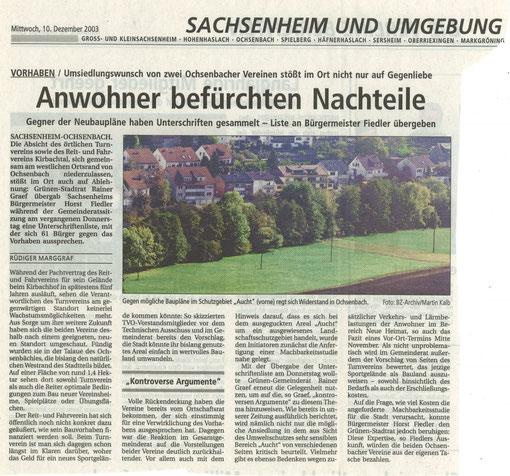 BZ über Umsiedlungswunsch zweier Vereine am 10.12.2003