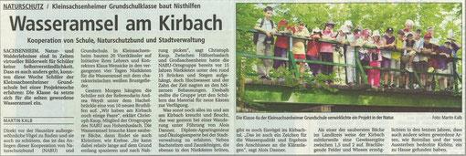 Bietigheimer Zeitung vom 28.06.2003 über Wasseramseln am Kirbach