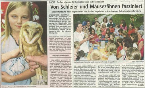 BZ am 26. Juli 2003 über Schleiereulenberingung mit Herbert Keil in Hohenhaslach