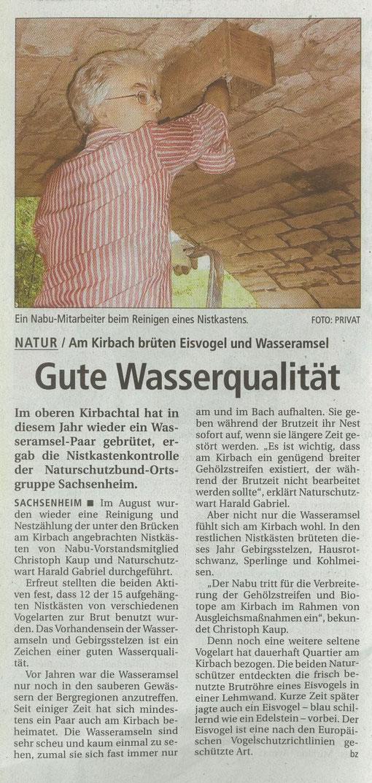 Bietigheimer Zeitung vom 27.08.2007 über Wasseramsel-Nistkastenreinigung am Kirbachtal