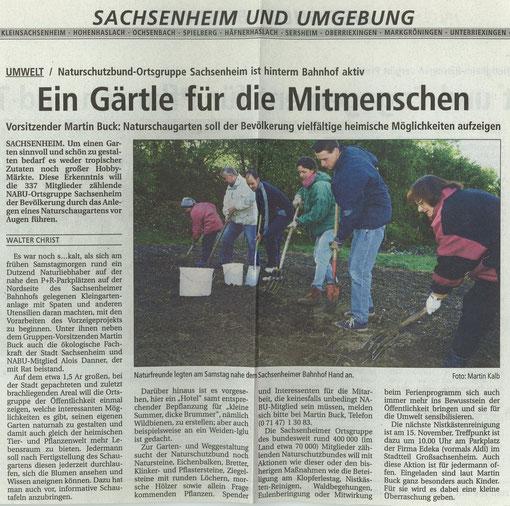 Bietigheimer Zeitung vom 20.10.2003 über Eröffnung NABU-Schaugarten