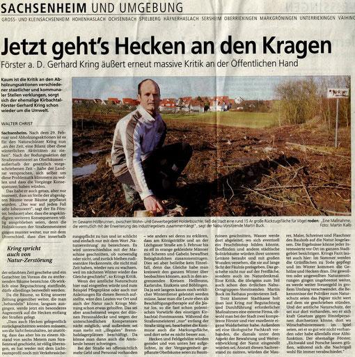 BZ über falsche Pflegemaßnahmen in Sachsenheim am 08.03.2008