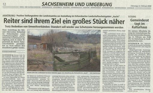 BZ über Stellungnahme Landratsamt LB zu Reitanlage Aucht vom 12.02.2008