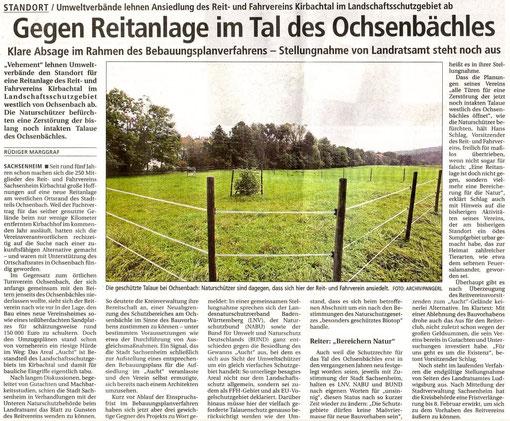Bietigheimer Zeitung über Stellungnahme der Umweltverbände zu Reitanlage Aucht am 04.02.2008