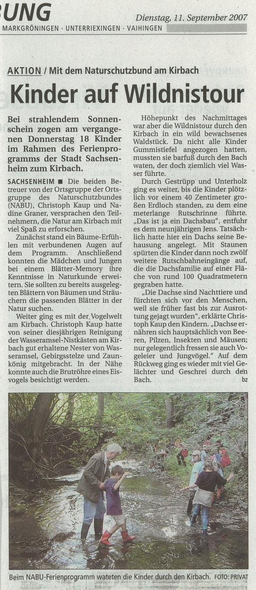 """Bietigheimer Zeitung vom 11.09.2007 über das Ferienprogramm """"Leben am Bach"""""""