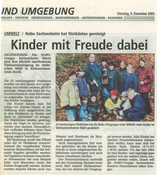 Bietigheimer Zeitung am 9. Fezember 2003 über Nistkastenreinigung mit Kinder