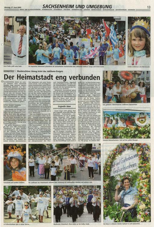20050627 BZ über Heimatfest Sachsenheim mit NABU-Laufgruppe Störche