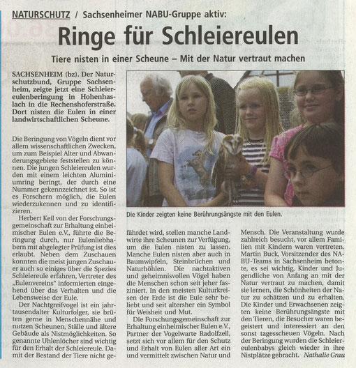 Bietigheimer Zeitung vom 01.07.2005 über Schleiereulenberingung mit Herbert Keil in Hohenhaslach