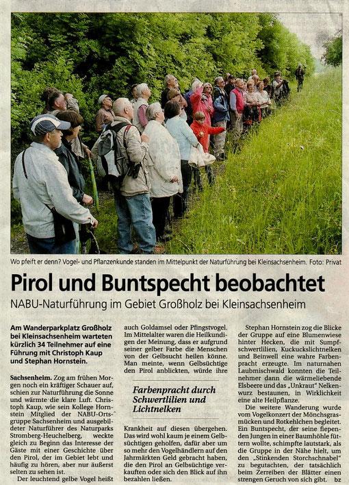 BZ über NABU-Naturführung Großholz am 25.05.2008