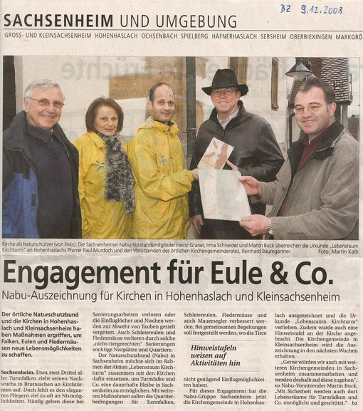 Bietigheimer Zeitung über Lebensraum Kirchturm Verleihung Urkunde in Hohenhaslach am 09.12.2008