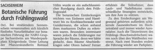 BZ vom 26.04.2005 über Botanische Führung mit Rotraud Völlm