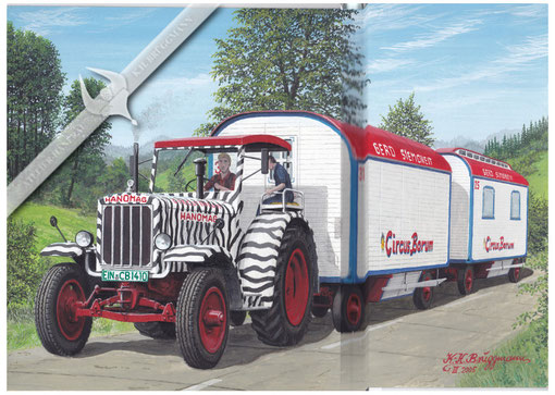 Hanomag R 40, Circus Barum, unterwegs, Aquarell.