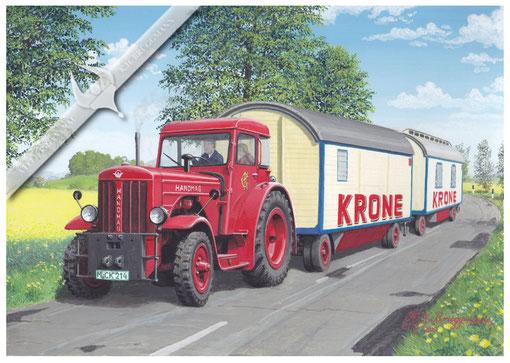 Hanomag R 55, Circus Krone unterwegs, Anfang der 60er. Aquarell