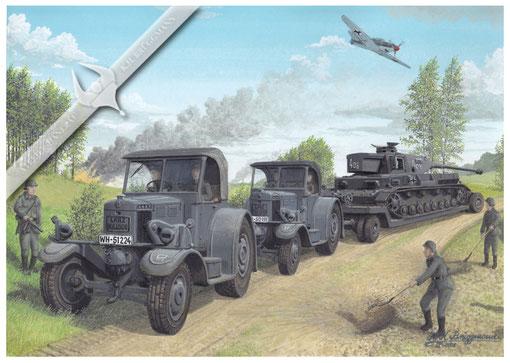 Lanz Eil-Bulldog´s HR 9 mit Panzer IV Transport im Kriegseinsatz, Aquarell.