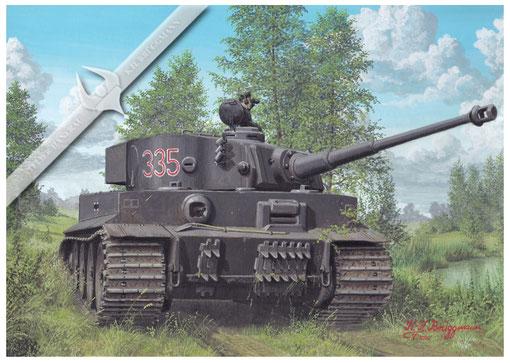 Kampfpanzer Tiger l der Wehrmacht, Aquarell.