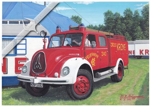 Feuerwehr Magirus TFL 16 Circus Krone, Aquarell.