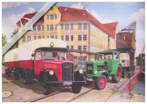 Opel Blitz und Deutz F 3 M 17 in Berlin Tempelhof 50er Jahre, Aquarell