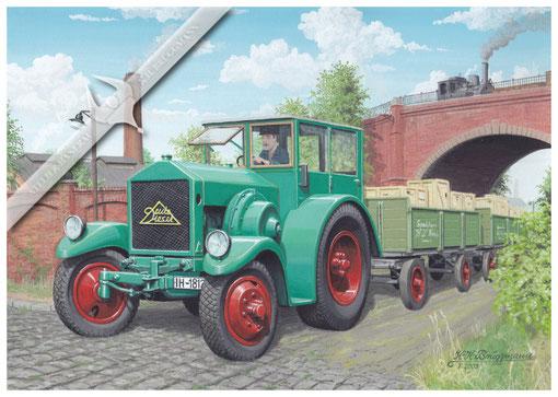 Deutz MTZ 320 als Straßenzugmaschine in den 30ern, Aquarell.