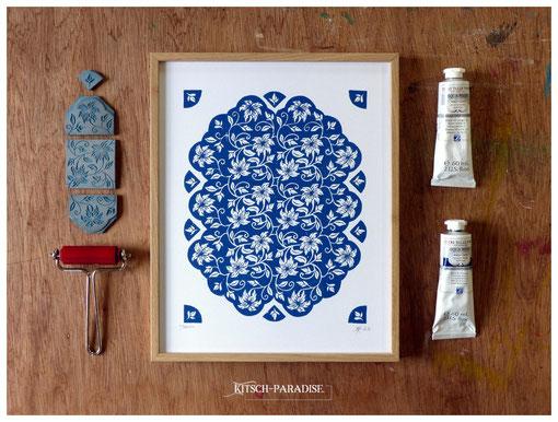 jasmin linogravure cadre oeuvre graphique bleu fête maman