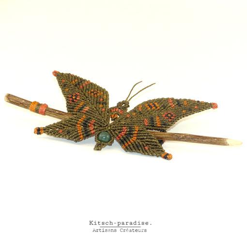 kp kitsch-paradise artisans créateurs macramé barrette papillon