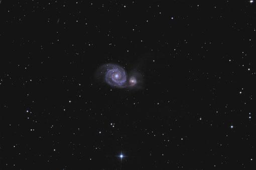 """M51 im Sternbild Jagdhunde, mit 8""""f/5 Newton aufgenommen"""