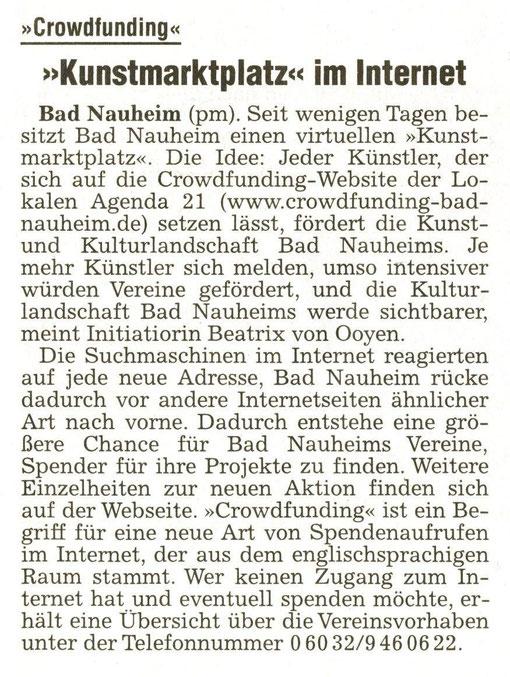Kunstmarktplatz im Internet, WZ 24.10.2013 - Die RICHTIGE Telefonnummer lautet: 06032 35634