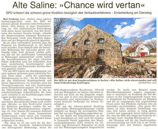 """Alte Saline: """"Chance wird vertan"""", WZ, 23.05.2014"""