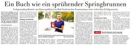 """""""Ein Buch wie ein sprühender Springbrunnen"""", FNP, 11.10.2016, Text und Foto: Petra Ihm-Fahle"""