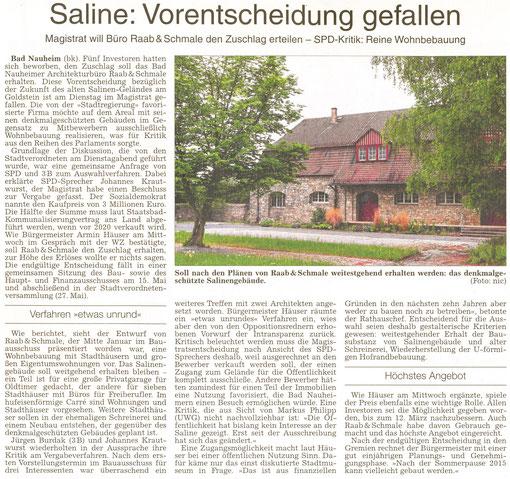 Saline: Vorentscheidung gefallen, WZ 02.05.2014, Text: Bernd Klühs, Foto: Nici Merz