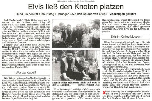 """Elvis im Online-Museum: """"Elvis ließ den Knoten platzen"""", WZ 06.01.2018, Text: ooy+bf, Fotos: Rüdiger Puls"""