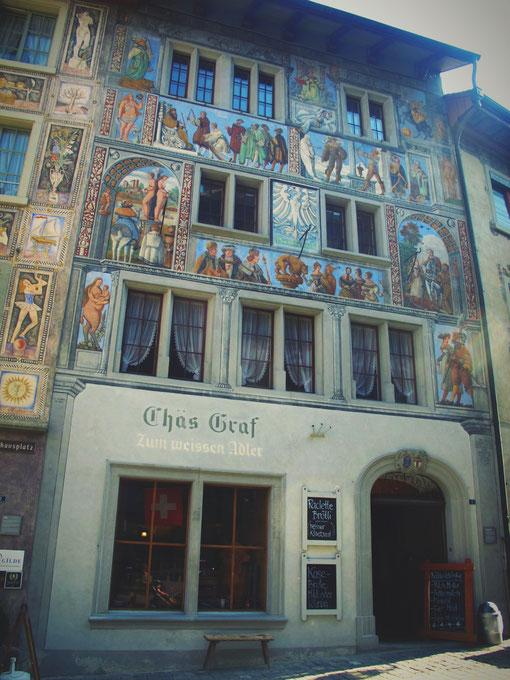 bigousteppes suisse fresque peinture stein village maisons