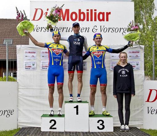 Kategorie Elite: (v.l.n.r.) Oleksandr Polivoda (2.), Marcel Wyss (1.) und Kanstantsin Klimiankou (3.)