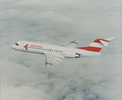 Die Fokker 70 im klassischen Farbkleid der Austrian Airlines!/Courtesy: Fokker
