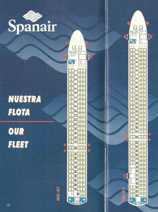 Kabinenpläne für die MD-87 und MD-83 der Spanair, von 1998/Courtesy: Spanair