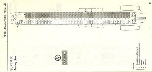 Sitzplan der Super 80 von 1986/Courtesy: Alitalia