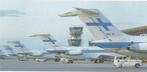 DC-9-51 und DC-9-41 der Finnair auf ihrer Heimatbasis Helsinki/Courtesy: Finnair