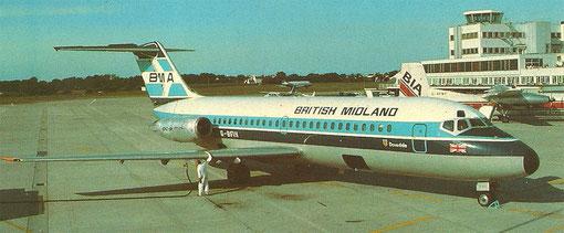 Die kleine DC-9 als damals größtes Flugzeugmuster der BMA/Postkarte