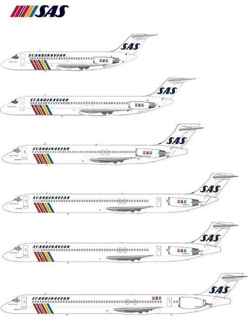 Von oben nach unten: DC-9-21, DC-9-41, MD-87, MD-80 mit alten und neuem Heckkonus sowie MD-90/Courtesy: MD-80.com