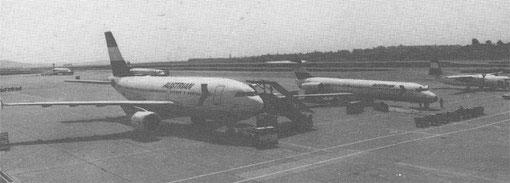 Links eine Airbus A310, in der Mitte eine MD-87 und rechts eine Fokker 50/Courtesy: Austrian Airlines