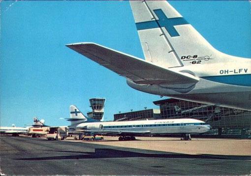 Leitwerk einer Douglas DC-8-62 und vier Caravelle der Finnair/Courtesy: Finnair