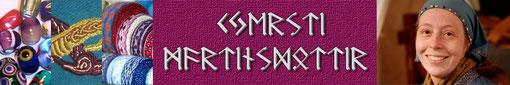 Kjersti Martinsdottir - Brettchenwebereien, handgesponnene Wolle, gestickte Decken und Glasperlen