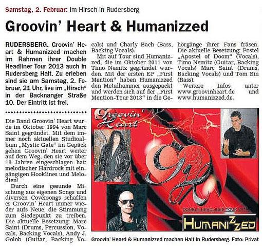 Artikel Schorndorfer Wochenblatt 02.02.2013 Hirsch, Rudersberg