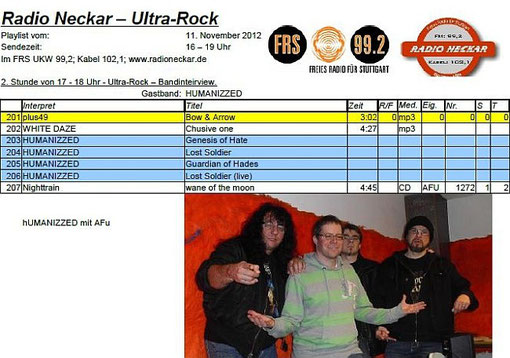 HUMANIZZED AT ULTRAROCK 11.11.2012 - Playlist - Freies Radio Neckar, Stuttgart