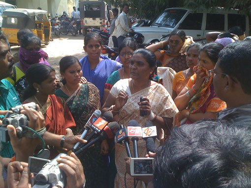 Adressing via electronic media - Jayamma, CMM's president and rescued woman talking on public TV programs