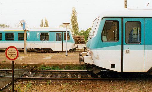Triebwagen 628 im Bahnhof von Blankenburg, Juni 1999